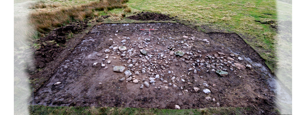 An aerial view of an excavated Bronze Age cairn at Ffos-y-fran, Merthyr Tydfil